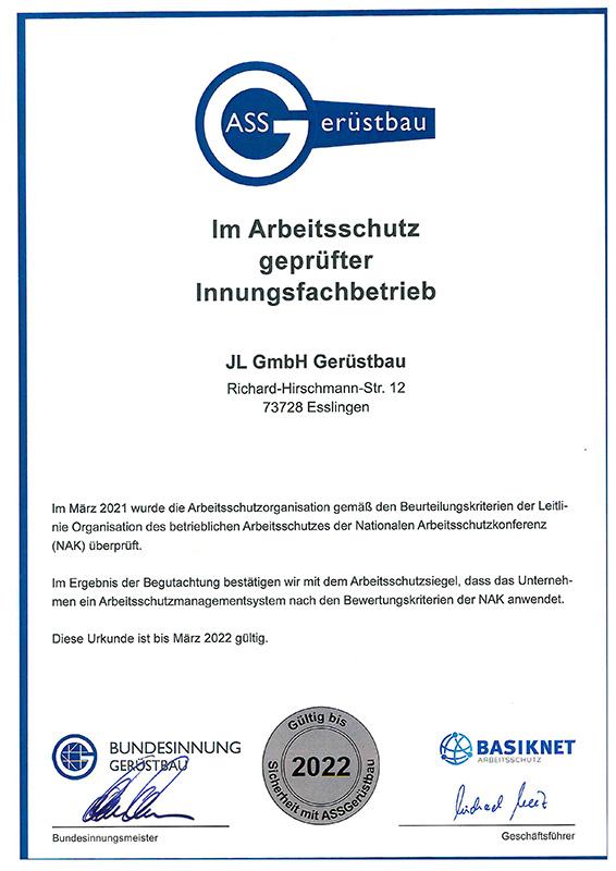 Zertifikate - JL GmbH Gerüstbau